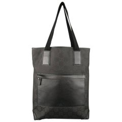 GUCCI Black Guccissima Monogram Nylon & Leather Pocket Tote Bag