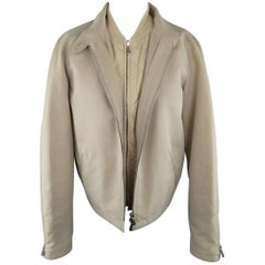 LORO PIANA Size 12 Khaki Roadster Short Detachable Vest Jacket