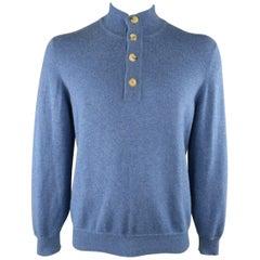 Men's BRUNELLO CUCINELLI Size L Blue Cashmere High Neck Half Button Pullover