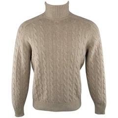 Men's BRUNELLO CUCINELLI S Oatmeal Beige Cable Knit Wool / Cashmere Turtleneck