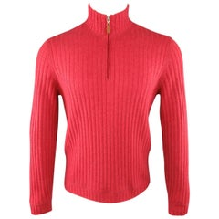 Men's BRUNELLO CUCINELLI Size S Light Red Ribbed Knit Cashmere Half Zip Pullover