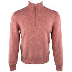 Men's BRUNELLO CUCINELLI Size S Muted Pink Red Heather Cashmere Half Zip Pullove