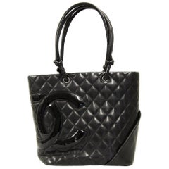2000s Chanel Cambon Black Leather Bag