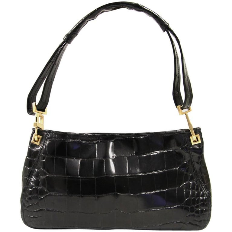 2000s Bottega Veneta Black Crocodile Leather Bag
