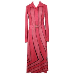 Roberta di Camerino Lobster Red Trompe l'Oeil Vintage Jersey Dress, 1970s