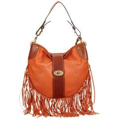 Mulberry Orange Fringed Leather Shoulder Bag