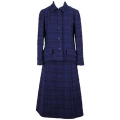 Chanel Numbered Haute Couture Purplish Blue Bouclé Checked Skirt Suit, A/W 1971