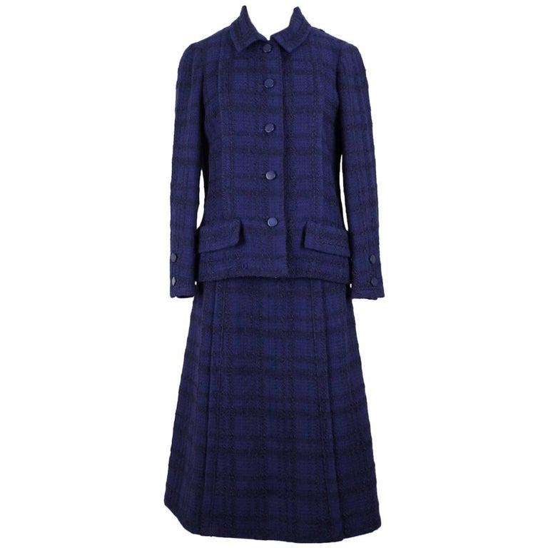 Chanel Numbered Haute Couture Purple Blue Bouclé Checked Skirt Suit, A/W 1971
