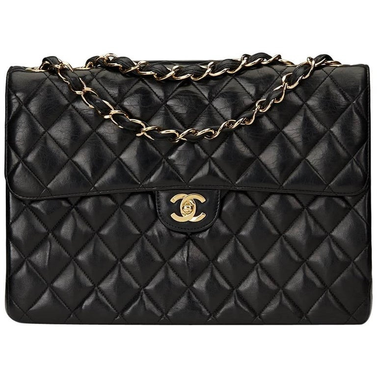 2000s Chanel Black Quilted Lambskin Jumbo XL Flap Bag