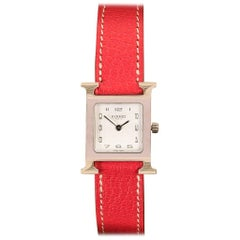 Pristine Hermes Lady's 'Heure H' Double Strap Palladium Silver Swiss-made Watch