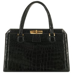 Very Rare Vintage Hermes 29cm Black 'Sac Bob' Shiny Crocodile Handbag