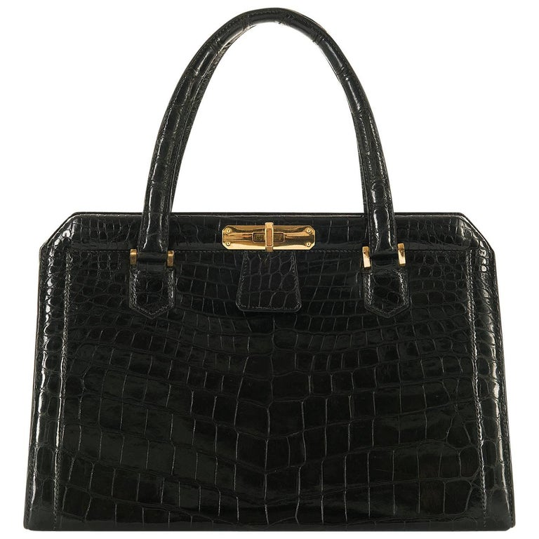 Very Rare Vintage Hermes 29cm Black 'Sac Metro' Shiny Crocodile Handbag 1