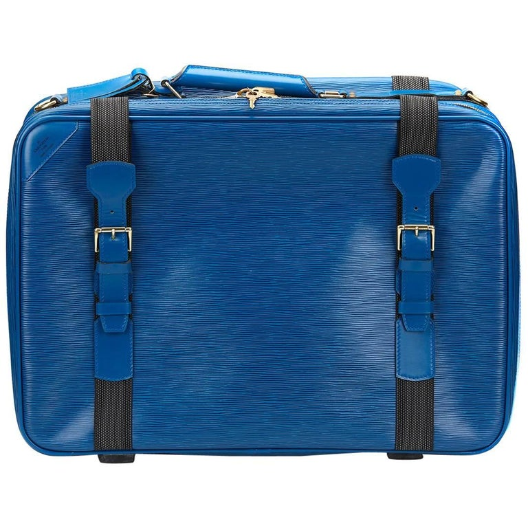 1990s Louis Vuitton Blue Epi Leather Vintage Satellite 50