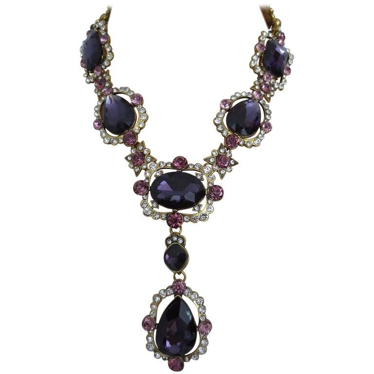 Outstanding Oscar De La Renta Faux Amethyst Crystal Runway Drop Necklace 1
