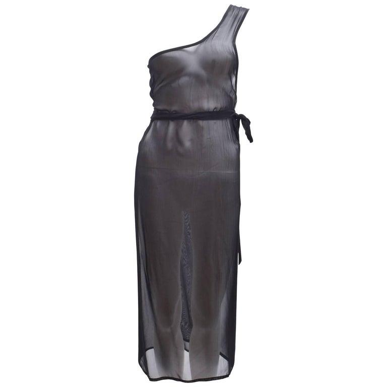 Ann Demeulemeester Black Silk Sheer One Shoulder Apron Dress 1