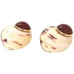 Maz 14k Gold & Carnelian Stone Snail Clip-On Earrings