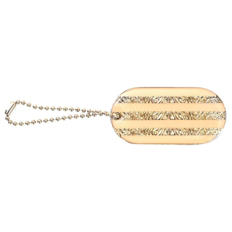Chanel Peach & Gold Dog Tag Key Chain/ Bag Charm