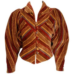 1973 Miss Mouse Striped Chenille Corduroy Dolman-Sleeve Cropped Deco Jacket