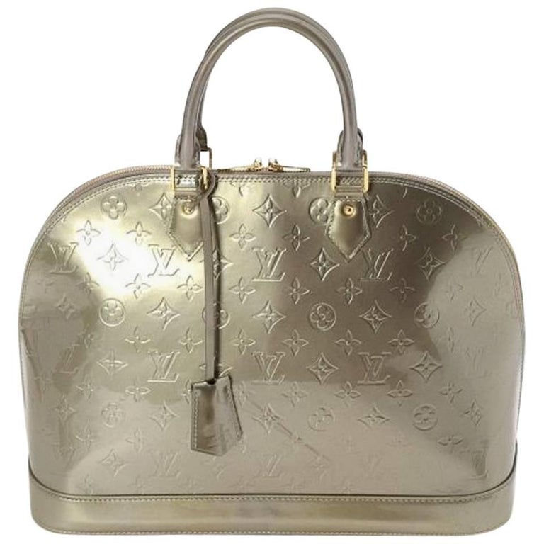 Louis Vuitton Monogram Patent Leather Top Handle Satchel Bag with Lock & Keys
