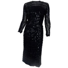 1950s Black Sequin Sheer Dress