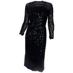 1950s Black Sequins Sheer Dress