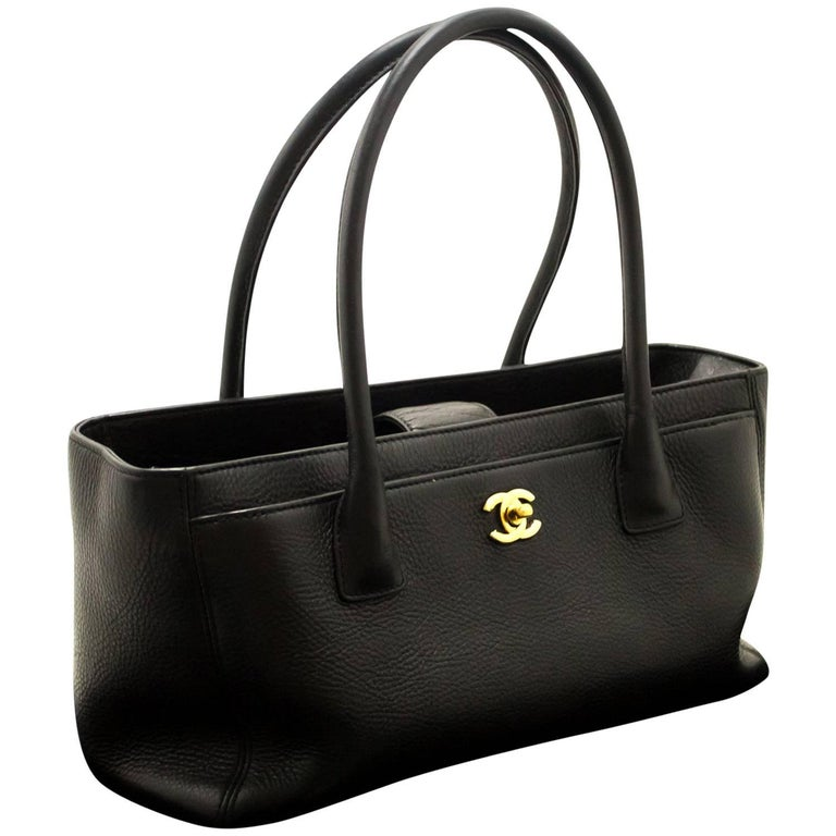 80a1564d563b CHANEL Executive Tote 2014 Caviar Shoulder Bag Black Gold Leather For Sale