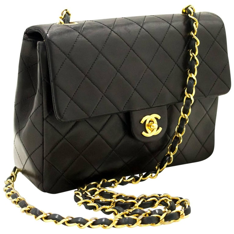 CHANEL Mini Small Chain Shoulder Bag Crossbody Black Quilted Flap For Sale