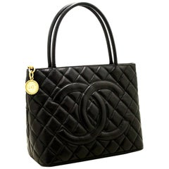 CHANEL Caviar Medallion Gold Hw Shoulder Bag Black Quilted Tote