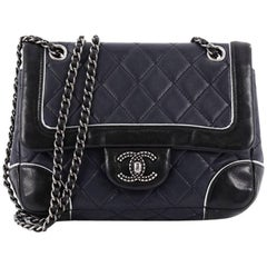 Chanel Engraved CC Contrast Trim Flap Bag Quilted Lambskin Small