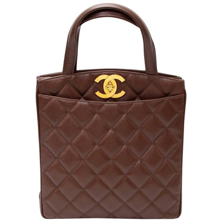 """Chanel 11"""" Black Quilted Caviar Leather Tote Hand Bag"""