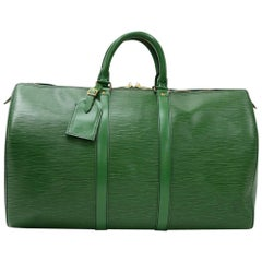 Vintage Louis Vuitton Keepall 45 Green Epi Leather Duffle Travel Bag