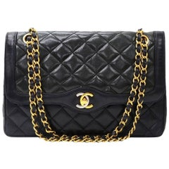 Vintage Chanel 2.55 10inch Double Flap Black Quilted Leather Paris Limited Bag