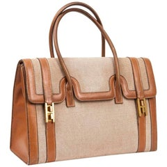 Vintage HERMES Flap Bag 'Drag' in Beige Canvas and Gold Leather