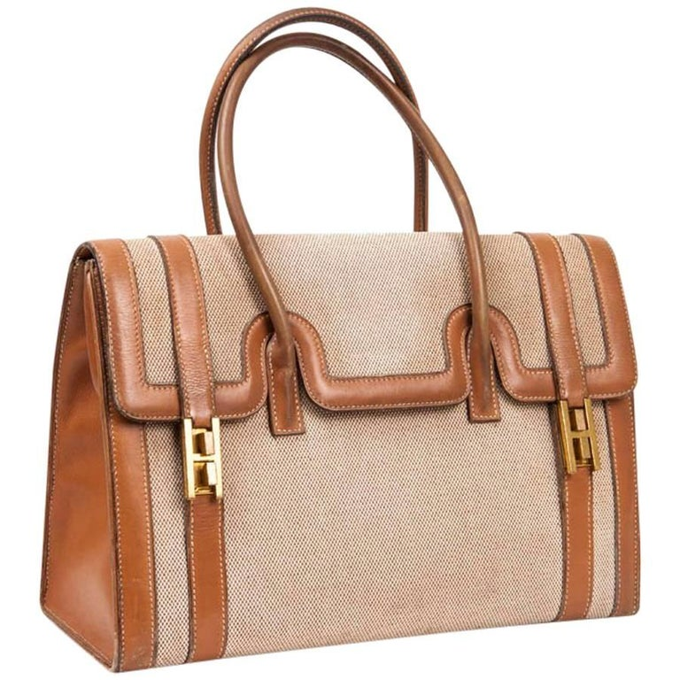Vintage HERMES Flap Bag 'Drag' in Beige Canvas and Gold Leather For Sale