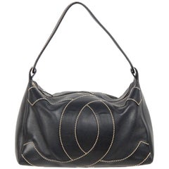 CHANEL Black Leather BIG STITCHED CC Shoulder Bag