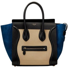 2015 Céline Blue, Beige, Black Tri-Colour Textured Calfskin & Suede Mini Luggage