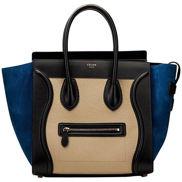 2015 Céline Blue, Beige, Black Tri-Colour Textured Calfskin & Suede Mini Luggage 1