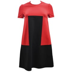 Alexander McQueen Red and Black A-Line Shift Dress