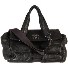CHANEL Black Distressed Leather TOTE Satchel w/ QUILTED Flap