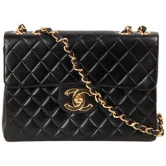 CHANEL Vintage Black QUILTED Leather JUMBO CLASSIC FLAP Shoulder Bag