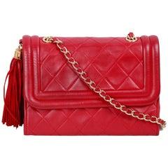 CHANEL Vintage Red QUILTED Leather TASSEL SHOULDER BAG