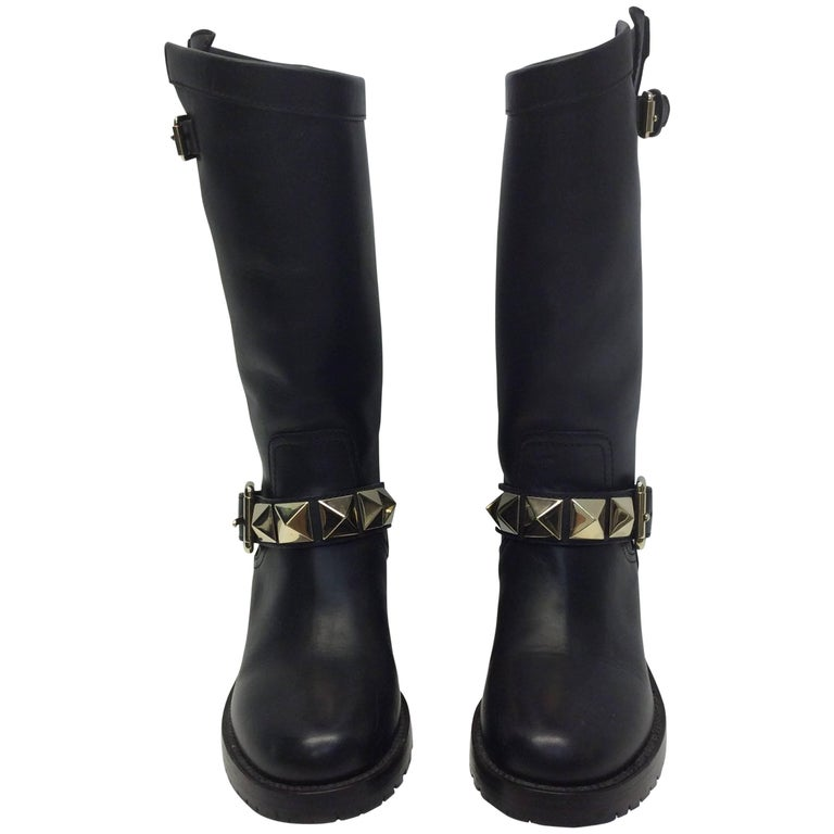 Valentino Leather Moto Studded Boots