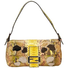 Fendi Yellow Python Leather Baguette