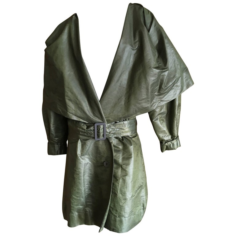 Issey Miyake 1980's Belted Double Breasted Trench Coat with Cape Collar