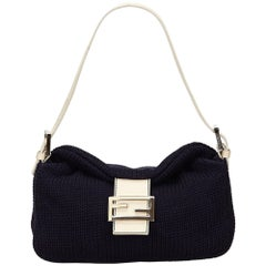 Fendi Blue Wool Shoulder Bag