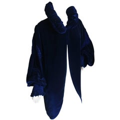 OMO Norma Kamali Edwardian Style Pintuck Deep Blue Velvet Balloon Sleeve Jacket
