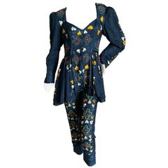 Vintage London Carnaby Street 1960's Embellished Silk Pants and Tunic Ensemble