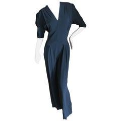 Norma Kamali Vintage Black Crepe 1930's Style Jumpsuit