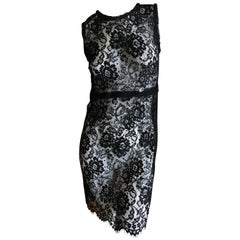 D&G Dolce & Gabbana Vintage Sheer Lace Mini Dress w Silk Slip