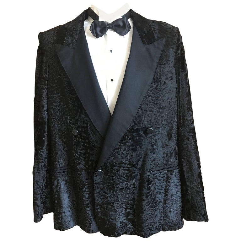 5180404674c YSL Tom Ford Black Broadtail Lamb Fur Tuxedo Jacket with Peak Silk Lapels  For Sale